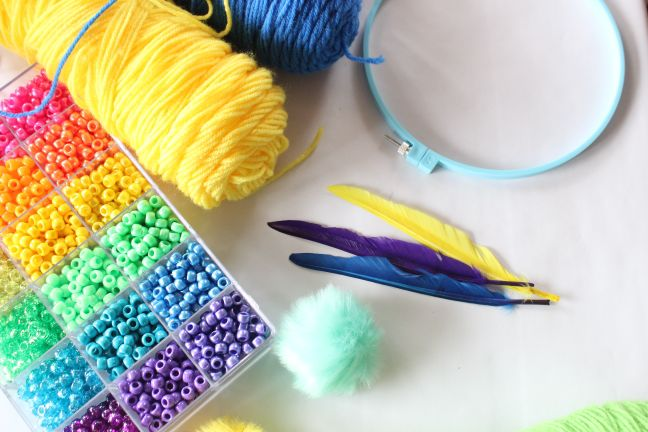 dream-catcher-supplies-rainbow-colored-beads-feathers-embroidery-hoop-craft-supplies