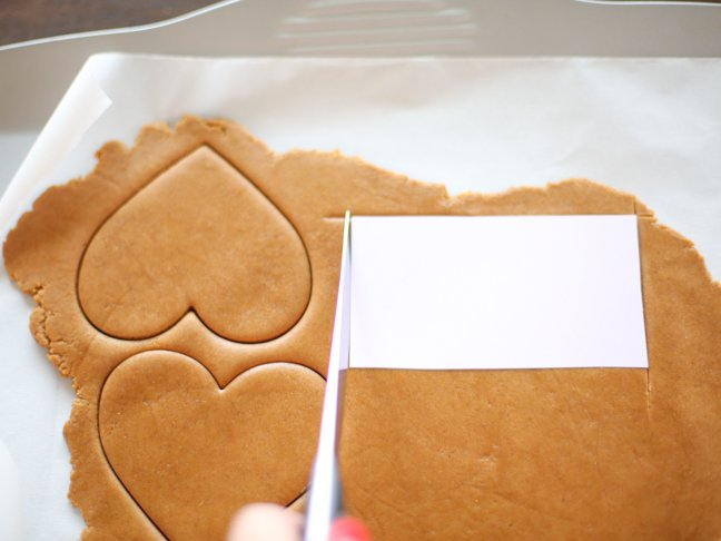 Cutting gingerbread dough