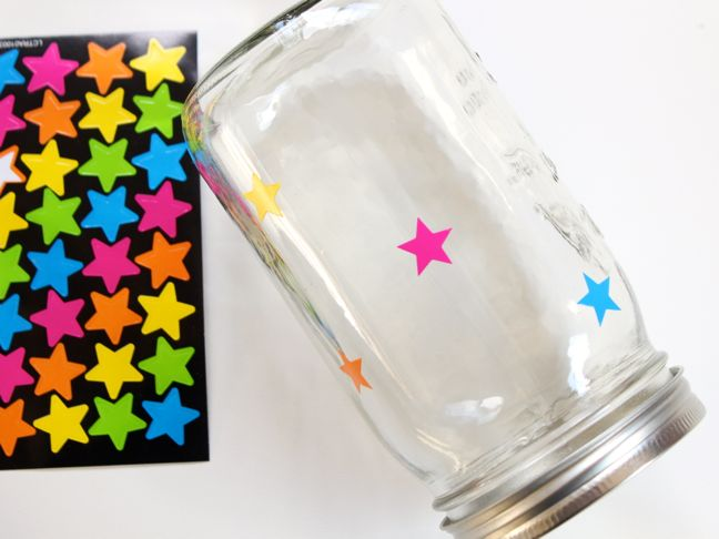 pink-blue-green-yellow-stars-on-a-mason-jar