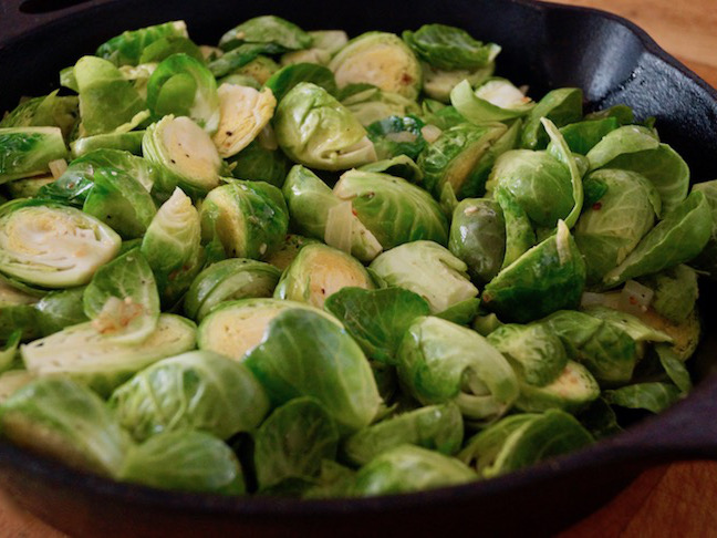 green-brussels sprouts-black pan-green