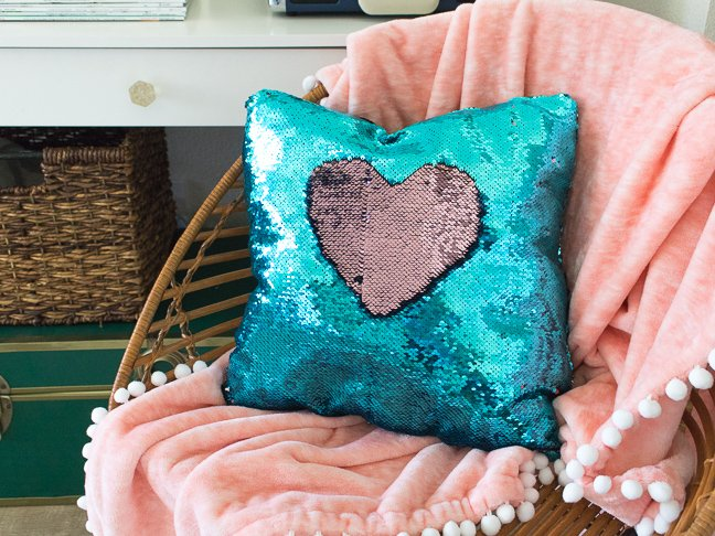 Teens will Love this Mermaid Sequin Pillow with Reversible Sequins