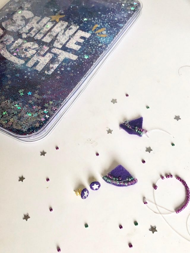 DIY Galaxy Seed Bead Earrings with Jackets