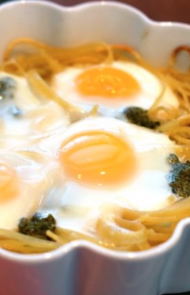 Baked Eggs In Pasta Nests