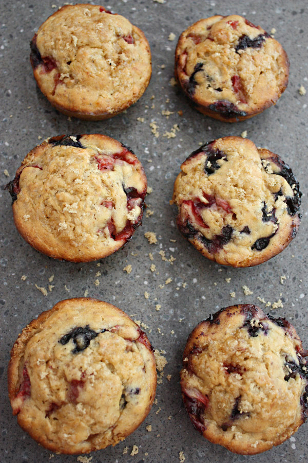 Double Berry Banana Muffins