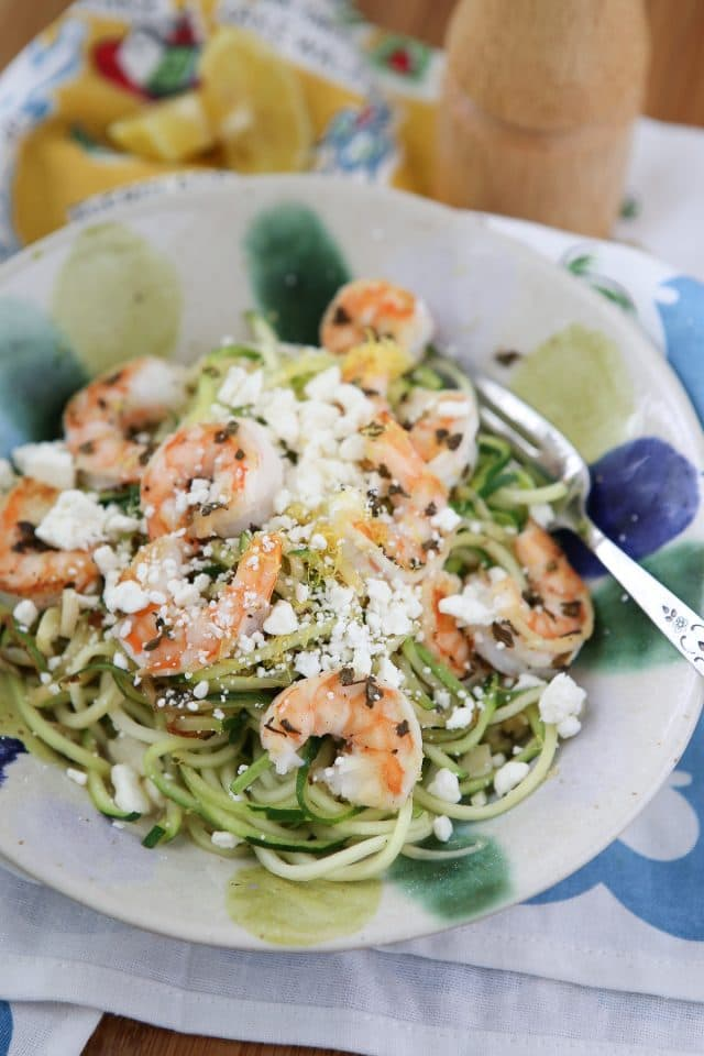 Skinnytaste Zoodles With Shrimp and Feta