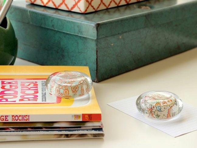 DIY Paper Weights from Glass Candle Holders