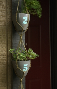 DIY Hanging Potted Plant House Number Idea