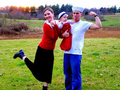 11 totally great family costume ideas for halloween popeye olive oyl and sweet pea solutioingenieria Image collections