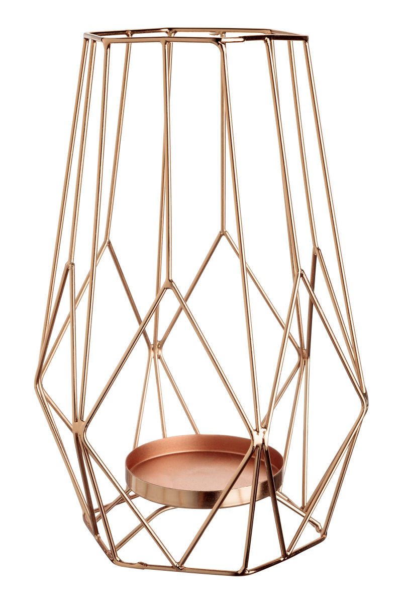 Geometric Copper Candle Holders