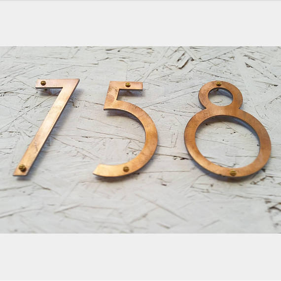 Copper Patina House Numbers