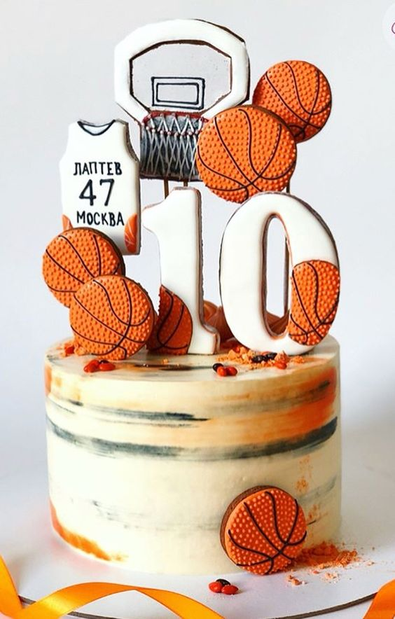 Cookie-Covered Basketball Birthday Cake