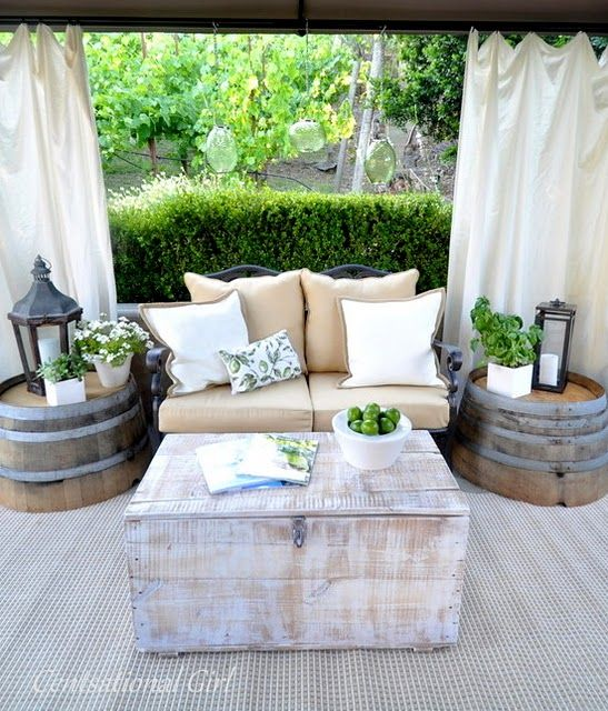 Wine Barrel End Tables for the Patio