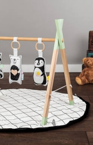 Wooden Baby Gym with Stuffies