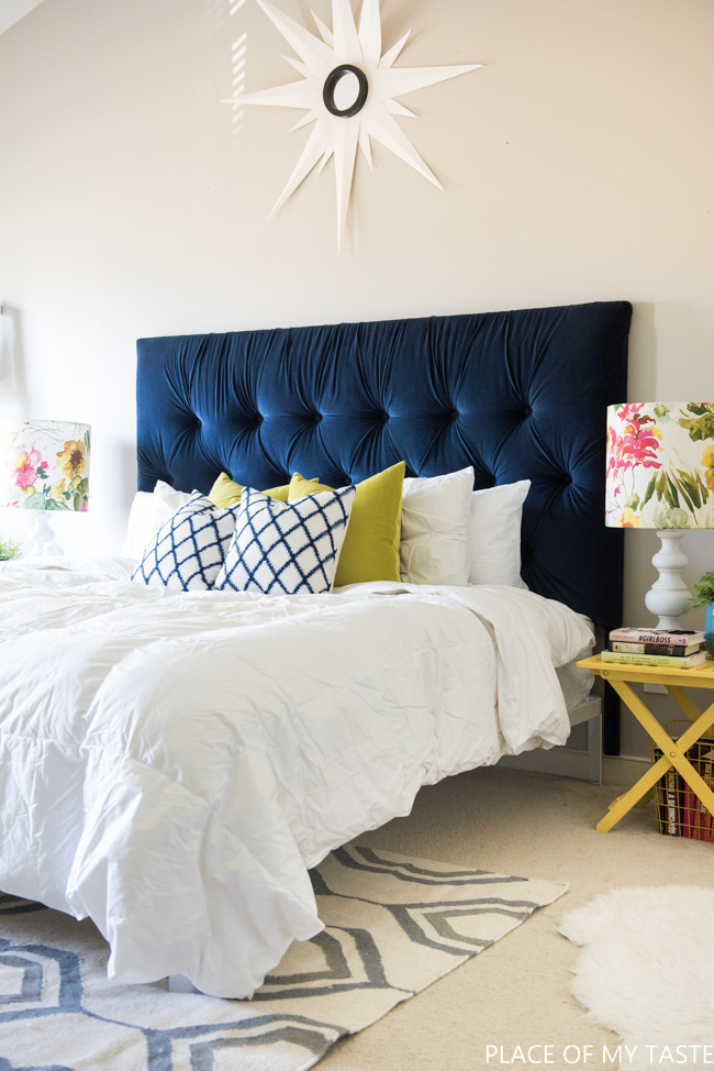 DIY Tufted Velvet Headboard