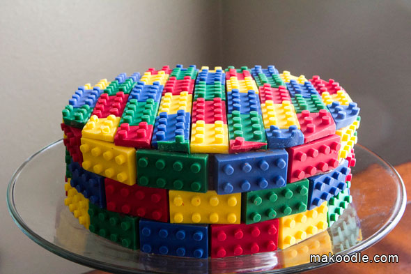 Use candy molds for the ultimate Lego cake.