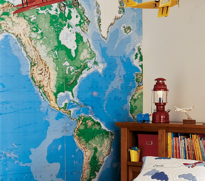 Create a super stylish kids room 21 modern removable wallpaper ideas world map gumiabroncs Choice Image