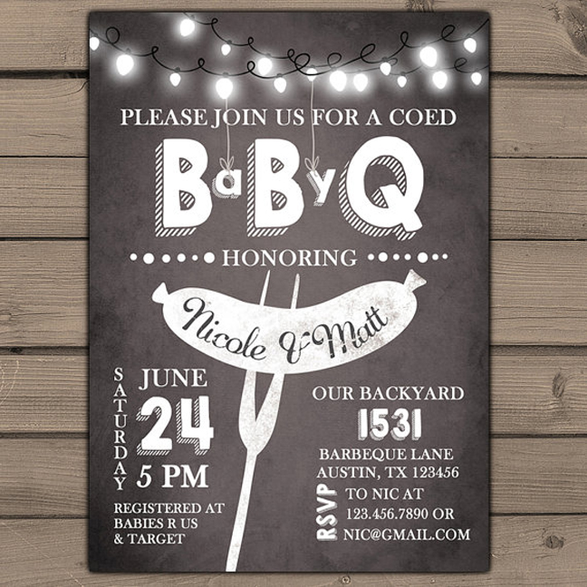 Superior Coed Baby Shower Themes Part - 10: Via Etsy Seller Anietillustration. Barbecue. Baby Under Construction