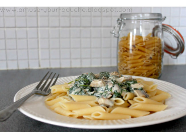 Creamy Boursin Pasta With Mushrooms and Spinach