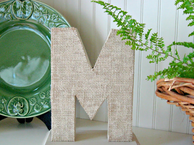 Burlap Covered Monogram Letter