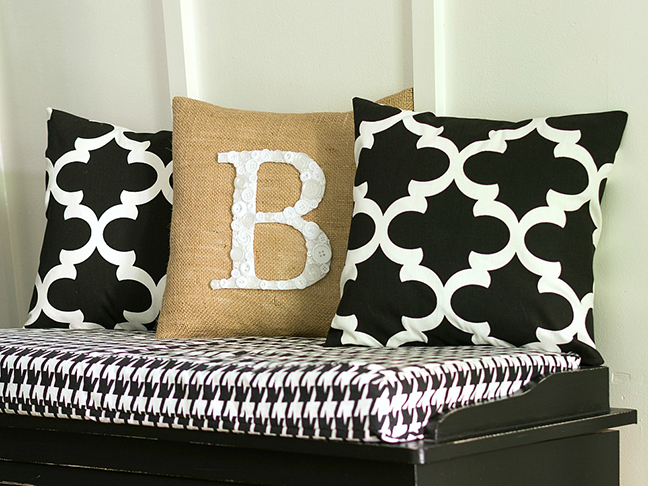 Button Monogrammed Pillow