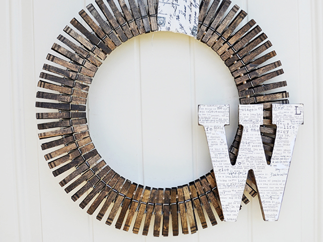 Monogrammed Clothespin Wreath