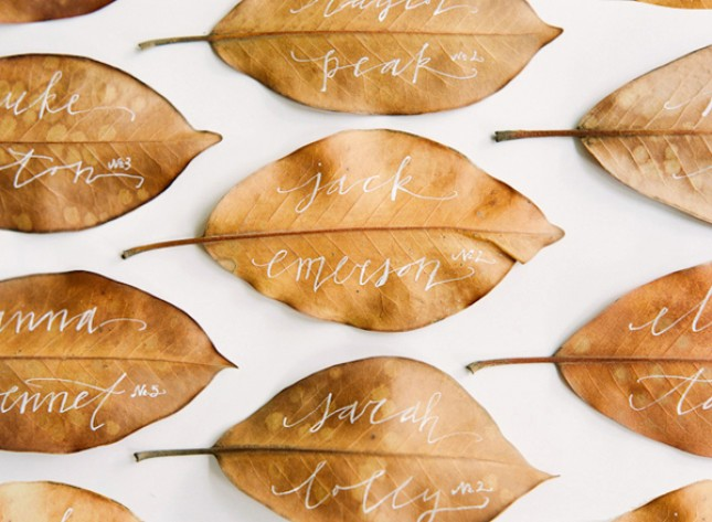 Leaf Place Cards with Calligraphy