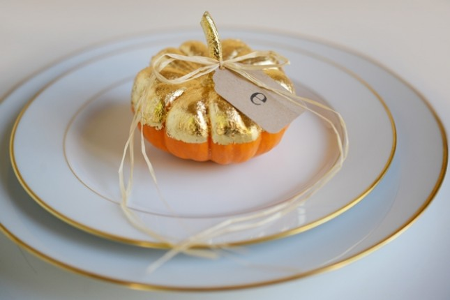 Gilded Pumpkin Place Cards