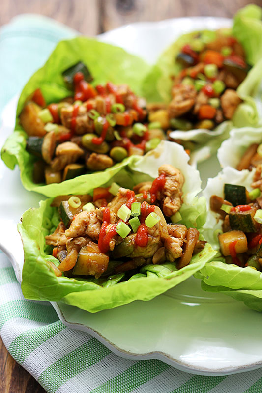 wraps asian with chicken lettuce