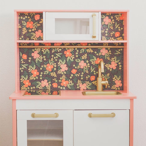 Floral and Feminine Play Kitchen Upgrade from Anchors & Honey