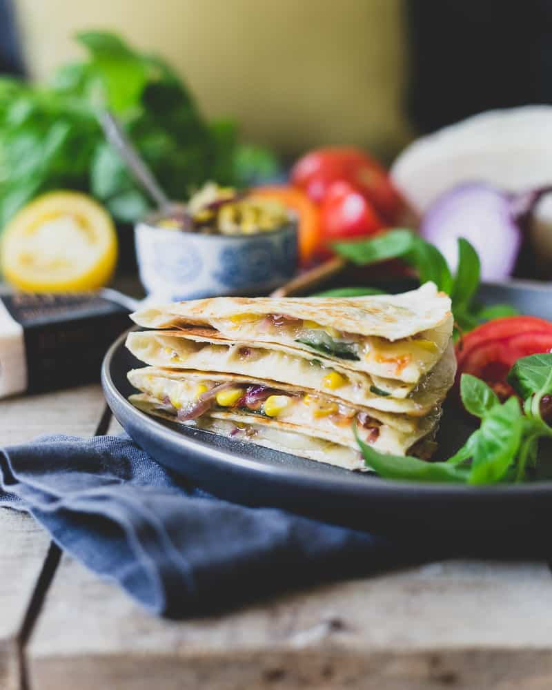 Summer Harvest Cheddar Quesadilla