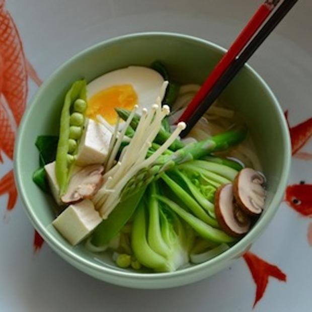 Get the recipe for Miso Noodle Soup with Vegetables .