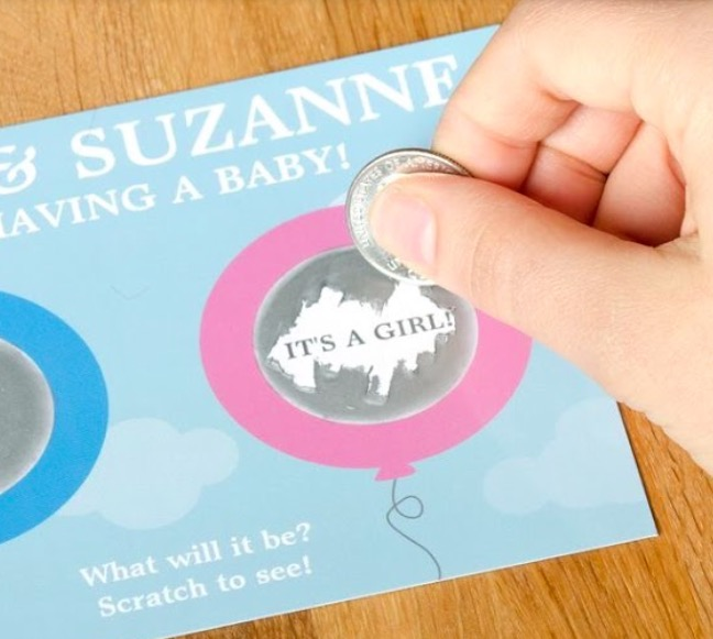 DIY Scratch Off Gender Reveal Card