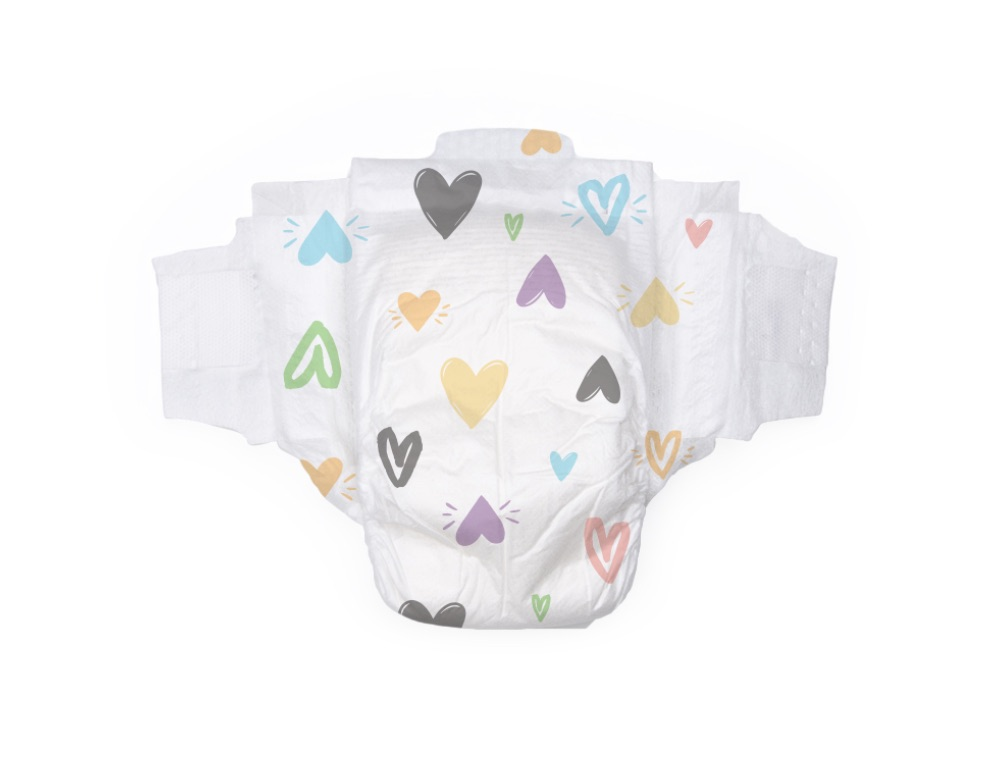 Heart & Floral Print Diapers