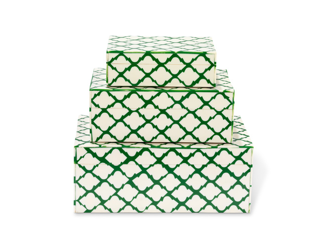 Green Lacquer Stacked Graphic Boxes