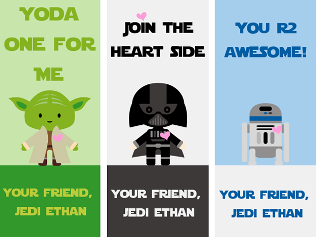 image about Printable Valentines for Kids identified as 14 No cost Printable Star Wars Valentines for Children Clrooms