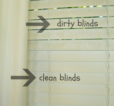 Clean blinds with a sock & vinegar solution