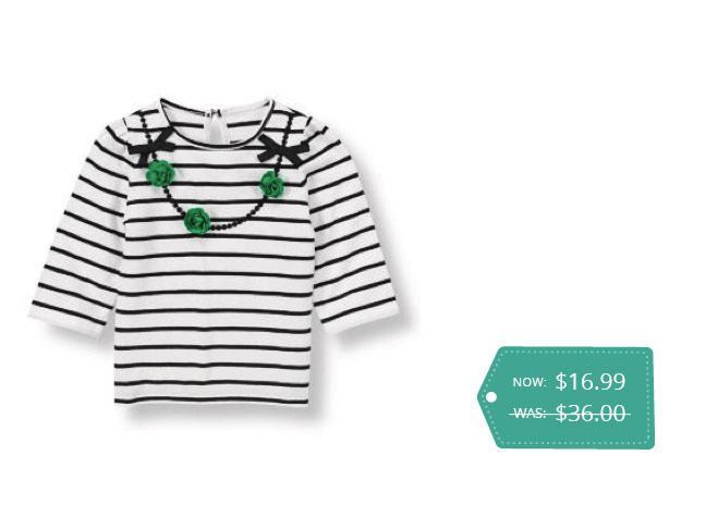 Janie and Jack Flower Necklace Striped Top
