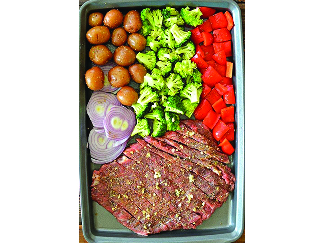 Sheet Pan Flank Steak With Garlic Roasted Potatoes