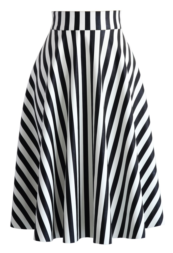 Black and White Striped Faux Leather Skirt