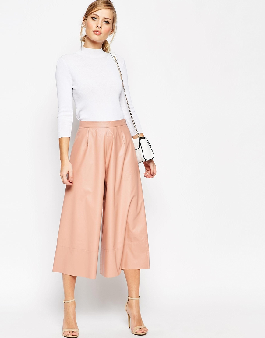Pink Faux Leather Culottes