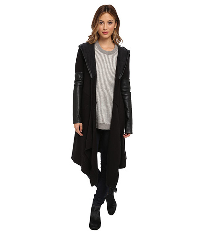 Easy Long Sweater with Faux Leather Sleeves