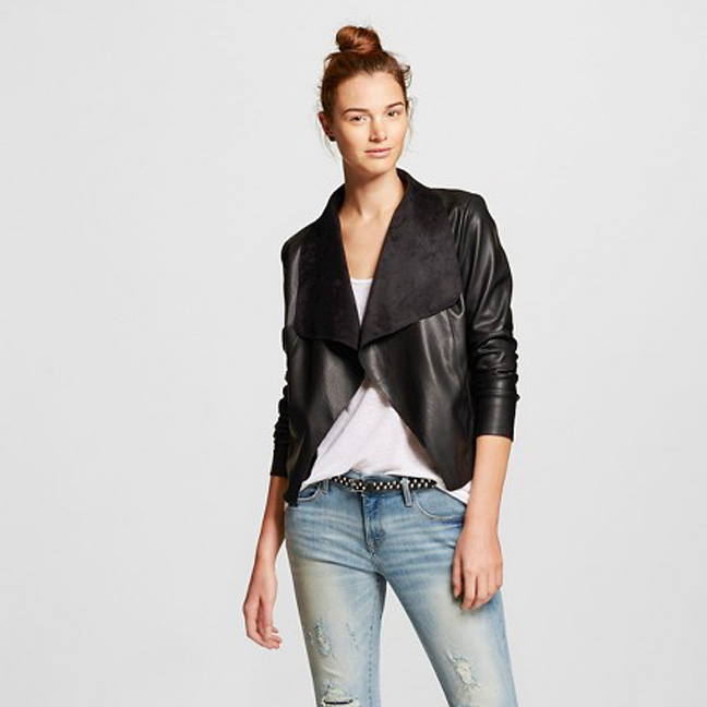 Faux Suede and Faux Leather Drape Jacket