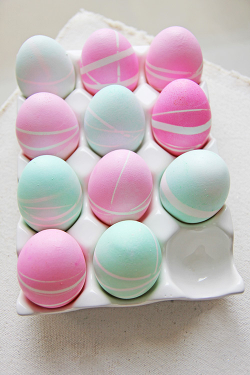Rubber Band Patterned Easter Eggs